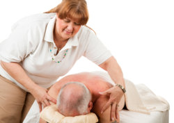 staff doing a massage to her patient